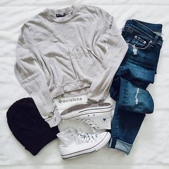 sweater grey jeans beanie converse