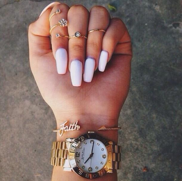 jewels ring gold silver boho diamonds crystal faith watch fashion nail polish bracelets gold jewelry faith bracelet nail accessories vintage gold watch