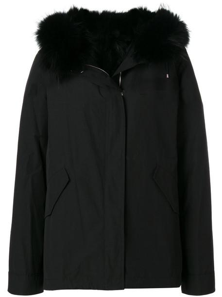 Army Yves Salomon coat fur fox women cotton black