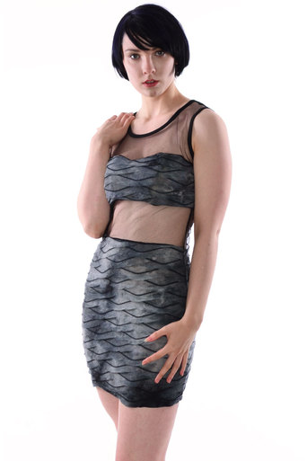 Atheena Fish Scale Mesh Cut Out Dress - Pop Couture
