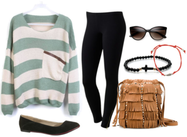 bag sweater green and white stripes