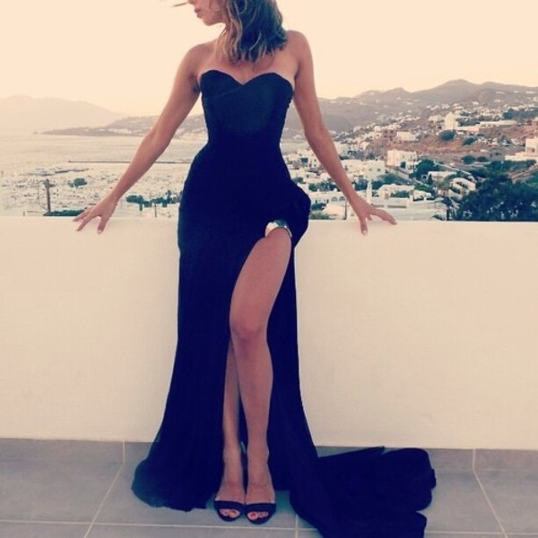 dress long black dress little black dress black long prom dress split on the left leg black prom dress