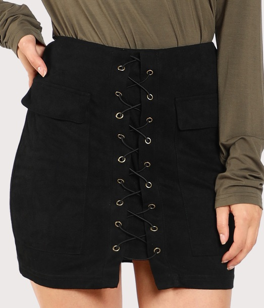 skirt girly black suede suede skirt lace lace up