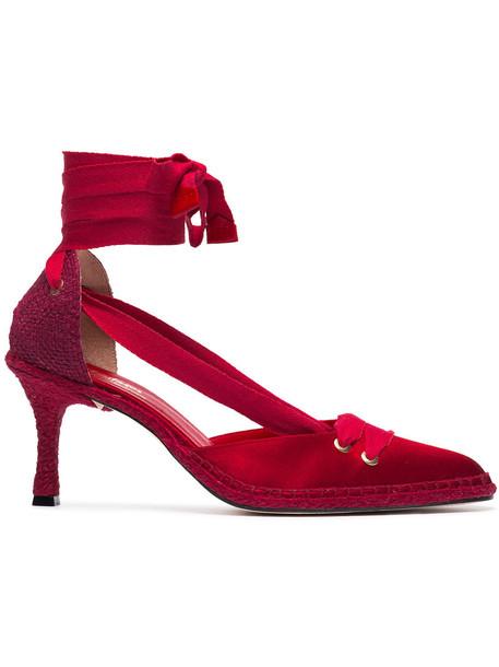 CASTAÑER heel mid heel pumps women pumps leather cotton satin red shoes