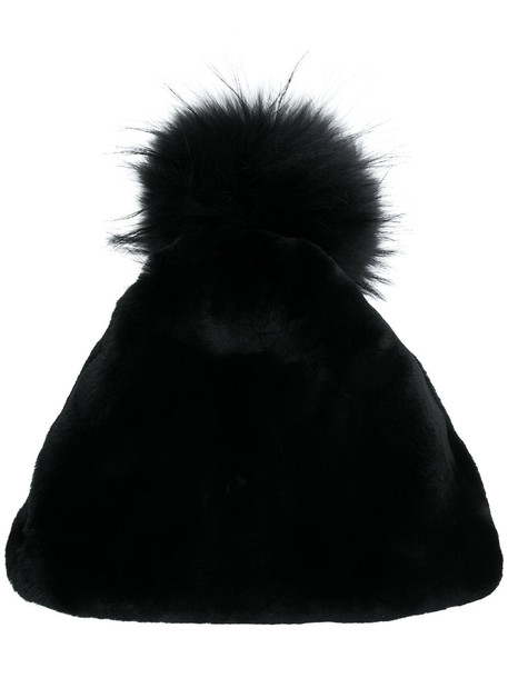 fur hat beanie black