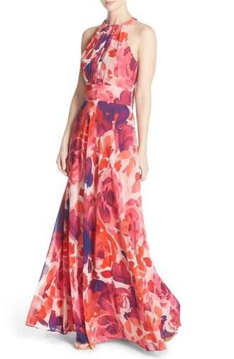 dress long floral dress wedding wedding clothes floral dress