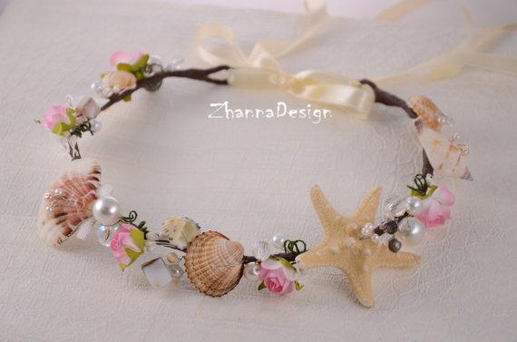 Beach Bridal TiaraWedding SeaShell HeadpiecePearls