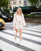 jacket,blazer,top,white top,shorts,beige,bag,sunglasses,shoes