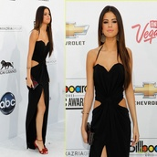 dress,selena gomez,prom dress,slit,black dress