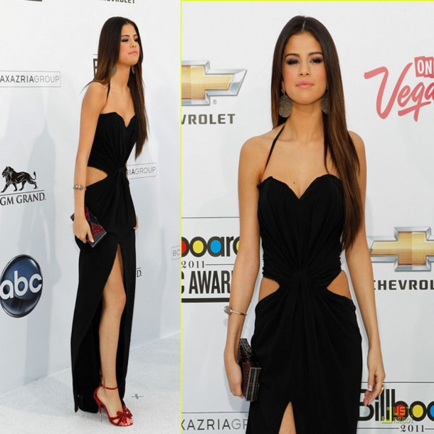 Dress: selena gomez, prom dress, slit, black dress - Wheretoget