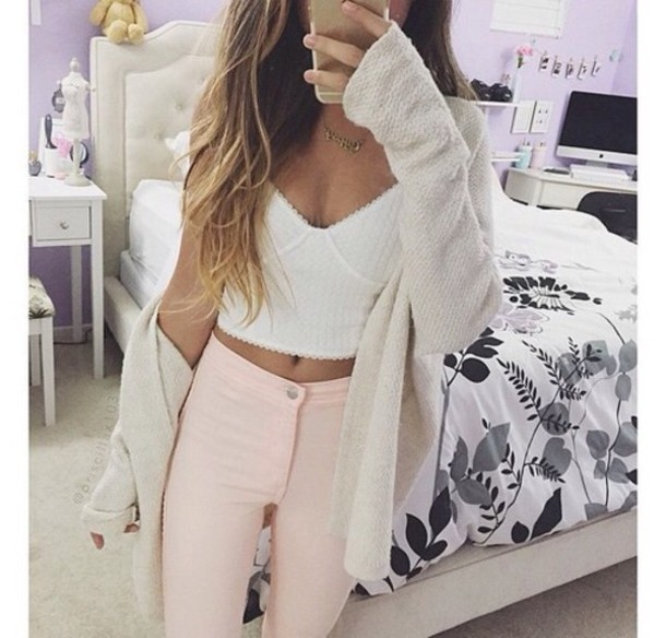 782620b0b9f cardigan top jeans blouse pants tank top white crop tops knit sweater white long  sleeves jacket