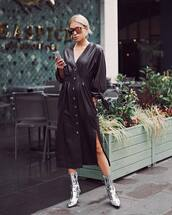 dress,black dress,midi dress,long sleeve dress,button up,v neck dress,metallic shoes,sunglasses,earrings
