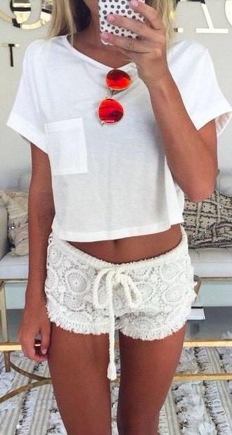 shorts white white on white tan summer pajamas