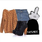 sweater,black boots,shorts,beanie,denim shorts,mickey mouse,winter sweater,rust,hat,shirt,pants,shoes