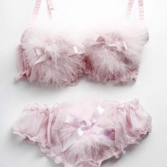 underwear pink bunny fur bows cute lingerie blush pink pretty