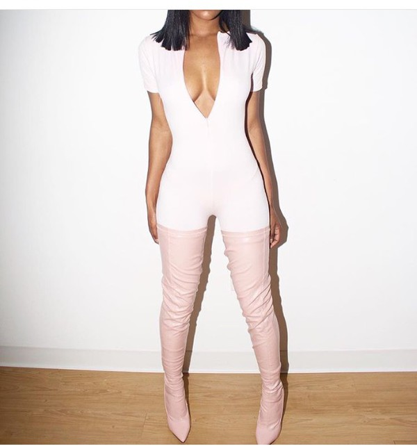 Shoes: thigh high boots, pink, jumpsuit, sexy - Wheretoget