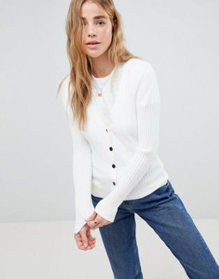 ASOS DESIGN cardigan in fine knit rib with buttons at asos.com
