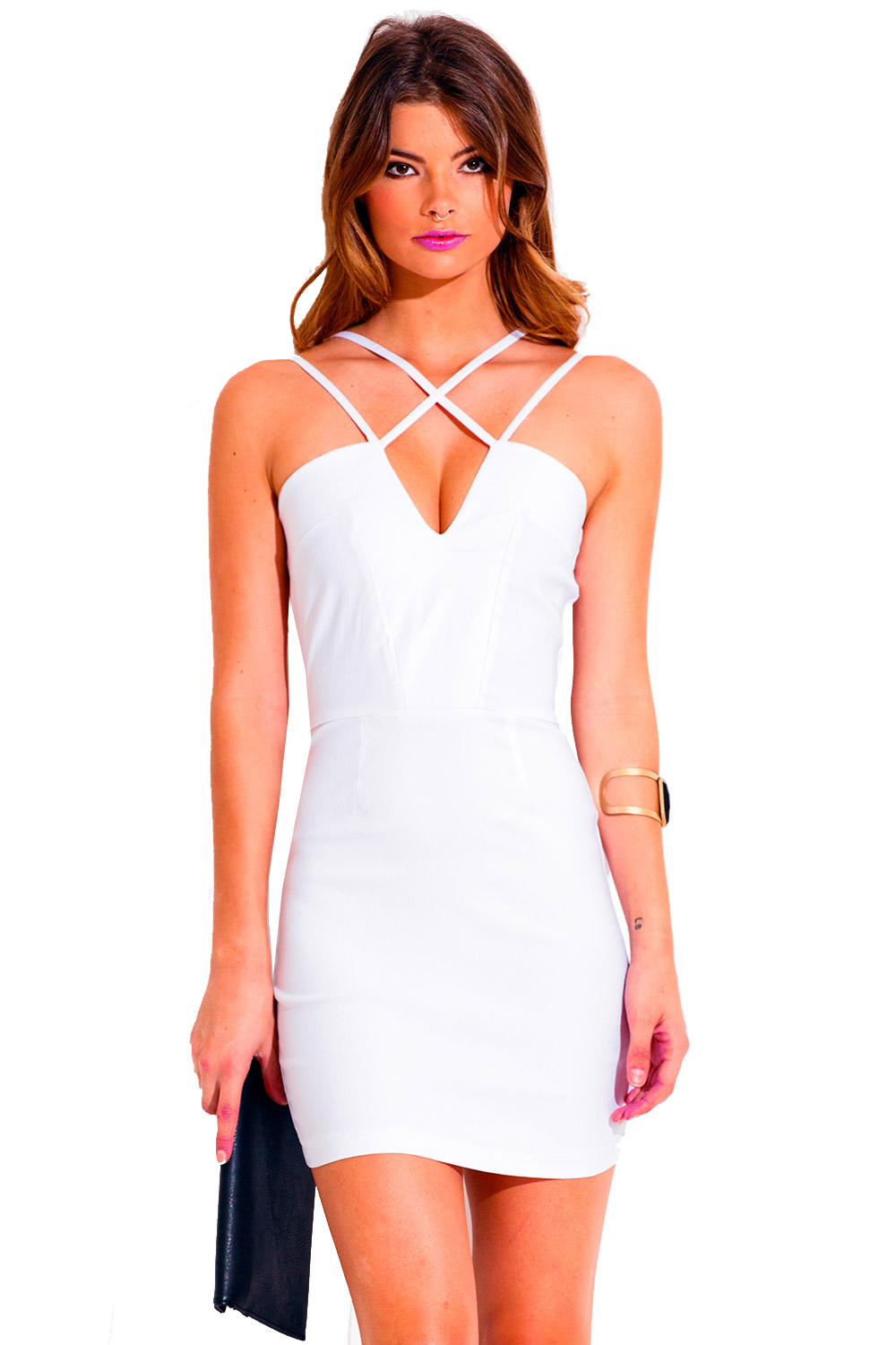 All white caged deep v neck cut out fitted bodycon pencil cocktail party mini dress