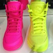 shoes,neon,neon yellow,neon pink,bag,shorts,skirt,neon pink shoes,neon yellow shoes,gucci pink neon leather,gucci