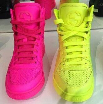 shoes neon neon yellow neon pink bag shorts skirt neon pink shoes neon yellow shoes gucci pink neon leather