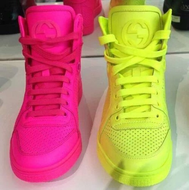 shoes neon neon yellow neon pink bag shorts skirt neon pink shoes neon yellow shoes gucci pink neon leather gucci