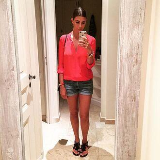 shirt shiva safai celebrity casual pink shirt shorts denim shorts blue shorts flat sandals sandals black sandals
