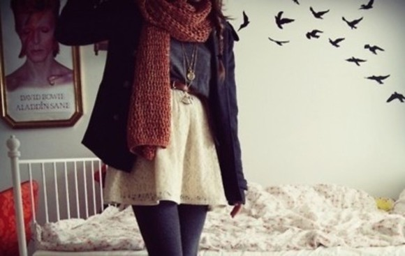 scarf skirt winter outfits comfortable cold grunge layers baggy loose cozy jacket white joyful outfits lace necklace top