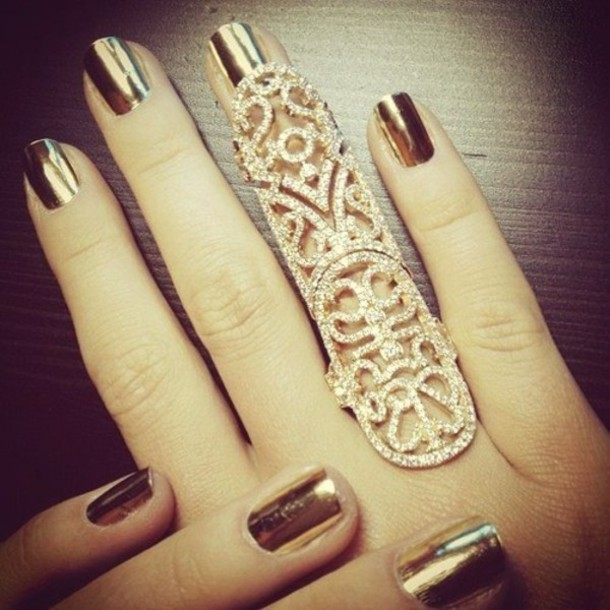 Jewels Gold Ring Nail Polish Armor Jewelry Bling Full Finger Rings Long Knuckle Accessories
