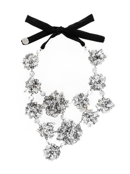 Maria Calderara oversized women embellished necklace grey metallic jewels