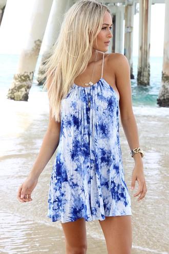 dress ustrendy dress ustrendy blue dress halter dress tiedye dress tie dye