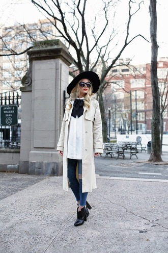 atlantic pacific blogger sunglasses white shirt trench coat ripped jeans felt hat
