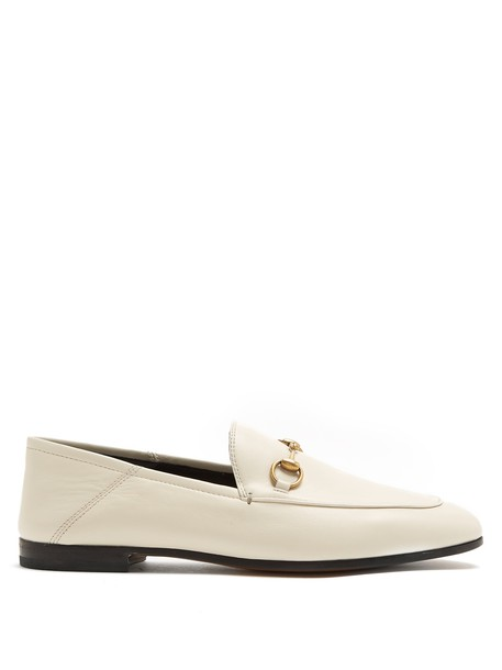 gucci heel loafers leather white shoes
