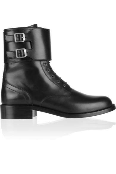 Saint Laurent|Patti leather army boots|NET-A-PORTER.COM