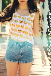 shirt,blouse,tank top,emoji print,crop tops,shorts,cute,crop,t-shirt,summer outfits,top,jeans,cut off shorts,cute outfits,cute shorts cute top,sando,unique clothes,white dress,white,white crop tops,coulorful,cute dress,happy,smileys,emoticons,whatsapp emoji,smiley top,emojis tank top pattern,emoji shirt,tumblr outfit,emoji crop top,emoji tee,cute vest,cute top,cute crop top,graphic tee,graphic crop tops,graphic top,cool,tumblr shirt,tumblr clothes,tumblr,smiley,debardeur,funny,faces,beautifull,emojis crop top