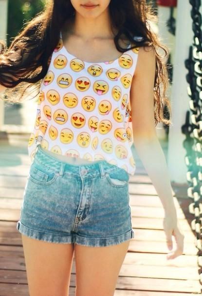 2479028bae8 shirt blouse tank top emoji print crop tops shorts cute emoji print crop t- shirt