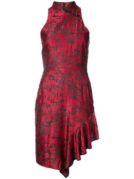 Natori dress women silk red
