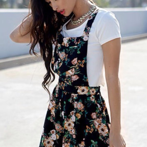 dress floral black summer dress summer outfits cute dress overalls floral dress skirt skater dress flowers print floral cute nice girly kpop kstyle summer spring pastel beige pretty korean fashion korean style