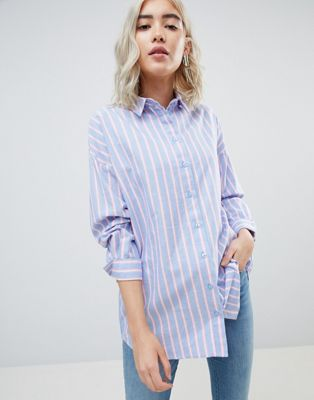 ASOS DESIGN Oversized Shirt in Blue and Pink Stripe at asos.com