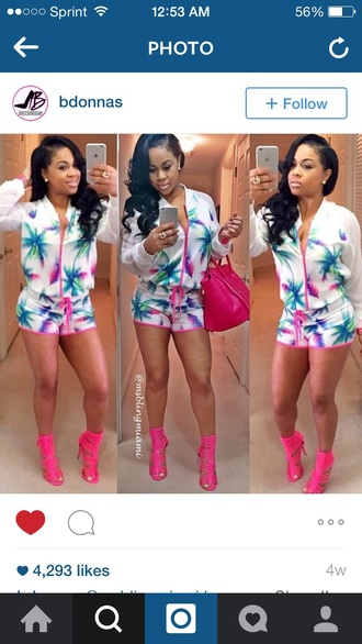 jumpsuit pink jacket beach style shoes shorts pink shoes
