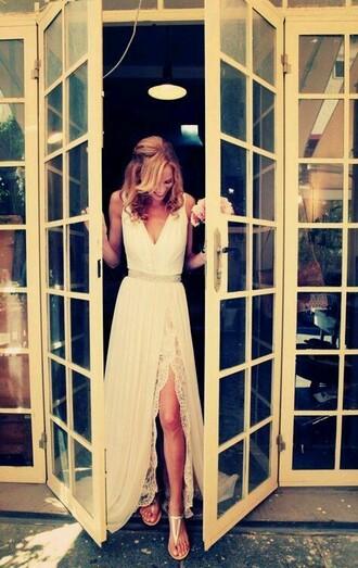 v neck dress white dress wedding dress