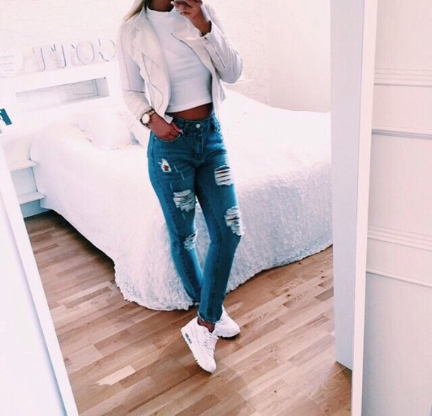 Tumblr Chic White Jenas Adidas Jacket Jeans Shoes Nike WBYFzxg7