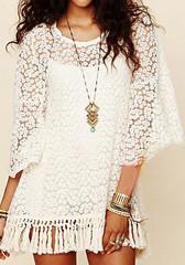 Crochet Short Tassels Dress