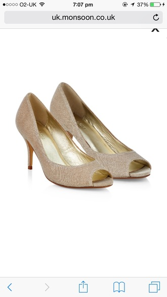 shoes gold peep toe pumps high heels glittery shoes