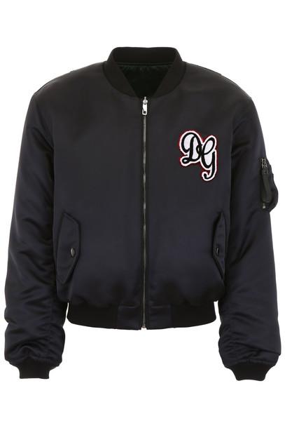 Dolce & Gabbana Dg Logo Bomber Jacket in nero
