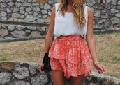 skirt,red dress,floral,layered,asymmetrical skirt,tucked in