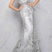 dress,mac duggal,lace dress,prom dress,evening dress,silver dress,platinum,fit and flare dress