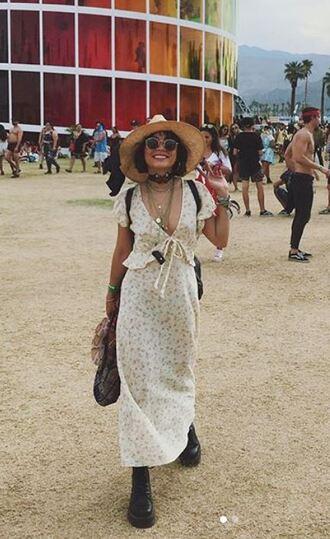 dress midi dress boho dress vanessa hudgens coachella festival music festival instagram hat boho chic