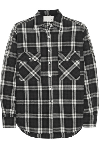 R13 | Zip-detailed plaid stretch-cotton shirt | NET-A-PORTER.COM