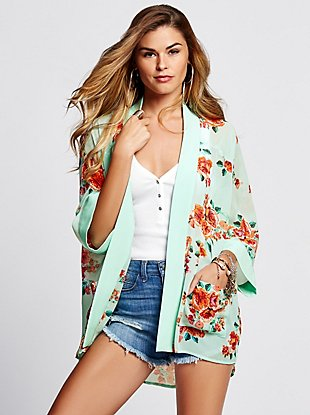 Long-Sleeve Floral Kimono at Guess