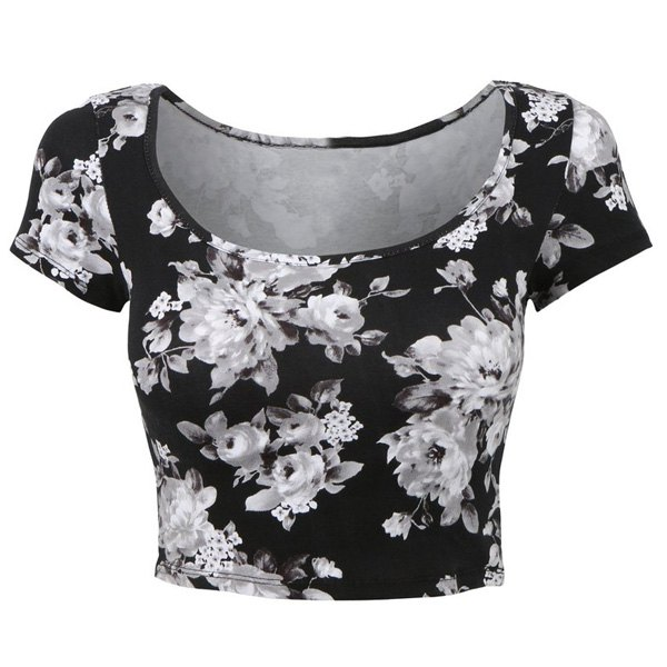 Stylish scoop collar short sleeve floral print crop top for White floral shirt womens